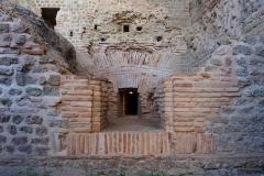 Centre rural gallo-romain (vestiges archéologiques) - Thermes de Cassinomagus (Ier-IIIe siècle), sous-sol: vestiges d'un four. Cassinomagus est un des plus grands ensembles de la Gaule romaine. Chassenon, Charente, France.