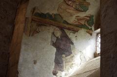Prieuré Saint-Jean-Baptiste - Français:   Prieuré de Ronsenac, Charente, France - Fresque du 14e siècle représentant un moine lecteur.