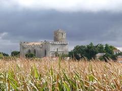 Eglise Saint-Martin - Esperanto: Preĝejo Saint-Martin en Esnandes (Charente-Maritime, Francujo) vidata el maizkampo norde de la vilaĝo.