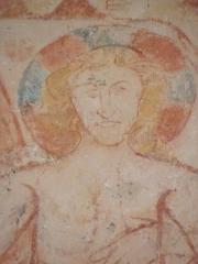 Eglise Saint-Pierre - Fresques de l'église Saint-Pierre de Landes (17). Baptême du Christ. Tête de Jésus.