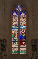 Eglise Saint-Eutrope - English: The beheading of Saint-Eutropius, Stained glass window in upper basilica of Saint-Eutropius, Saintes, Charente-Maritime, France