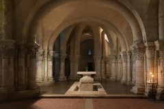 Eglise Saint-Eutrope - English: The choir of the romanesque crypt of Saint-Eutropius Basilica in Saintes, Charente-Maritime, France