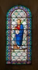 Eglise Saint-Eutrope - English: Stained glass window dedicated to Saint Vasius, martyr (+490 in Saintes), upper basilica of Saint-Eutropius in Saintes, Charente-Maritime.