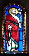 Eglise Saint-Pierre-ès-Liens£ - English: Thaims ( Charente-Maritime ). Saint-Pierre de Thaims church ( 12th century ) - Stained glass window ( 19th century ) showing Saint Joseph.
