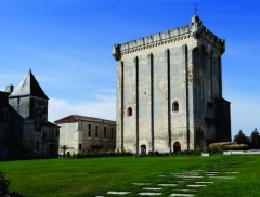 Ancien château, actuellement Hôtel de ville - Nederlands: De donjon van Pons - Charente-Maritime, Poitou-Charentes. De toren (XIIe eeuw) maakte deel uit van het kasteel van Pons. Het is het bijzonderste overblijfsel van dit versterkt kasteel.