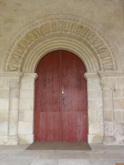 Eglise Notre-Dame-et-Saint-Junien - English: Église Notre Dame et Saint-Junien de Lusignan, Porte du zodiac
