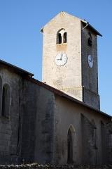 Eglise de Puxe - Français:   Clocher roman de l\'église Saint-Rémy de Puxe à Lalœuf en Meurthe-et-Moselle.