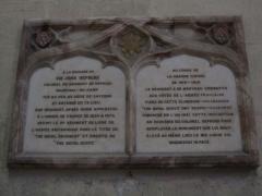 Ancienne cathédrale Saint-Etienne et son cloître - Plaque en mémoire de John Hepburn, cathédrale de Toul.