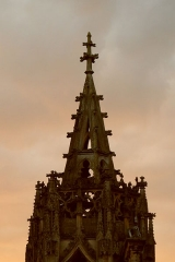 Chapelle des Monts ou la Recevresse - English: Spire of Recevresse of the Notre-Dame d'Avioth basilica, at sunset (France, Meuse Department).