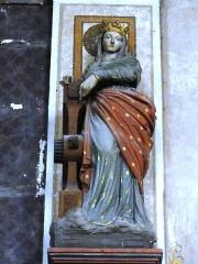 Eglise Saint-Laurent - English: Vaucouleurs (Meuse) Église Saint-Laurent, statue d'une sainte