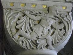 Gare - Gare de Metz-Ville (Moselle, France); salon d'honneur: chapiteau représentant un chasseur