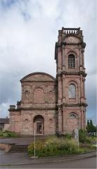 Abbaye - Français:   Façade de l'ancienne église abbatiale de l'abbaye Saint-Pierre d'Étival-Clairefontaine. Façade de style classique du XVIIIème siècle.