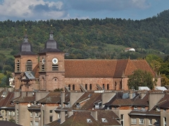 Cathédrale et cloître - English: Sight, from the tour de la Liberté tower, on the city of Saint-Dié-des-Vosges cathedral, in Vosges, France.