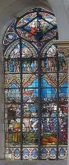 Eglise Saint-Pierre - Vitrail 18 de l'église Saint-Pierre, à Bouvines, Nord, France: après la victoire, Phillipe II fait une revue d'honneur de son armée.