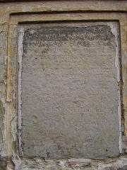 Béguinages Saint-Nicolas et Saint-Vaast - English: Saint-Vaast and Saint-Nicolas Beguinage in Cambrai (France). Foundation text on the main house.