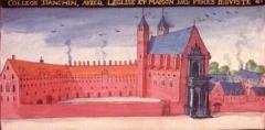 Ancien collège de la Compagnie de Jésus d'Anchin -  Ancien collège jésuite d'Anchin à Douai. (miniature tirée du cartulaire de Douai)