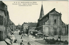 Eglise Saint-Nicolas - Français:   Carte postale ancienne éditée par ES 27 - Stévenard, éditeur à Boulogne-sur-Mer, n°27: BOULOGNE-SUR-MER - Grande Rue - Eglise Saint- Nicolas, construite en 1231