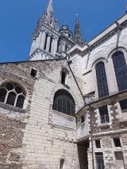 Cathédrale Saint-Maurice - Cathédrale Saint-Maurice d'Angers, des XIIe et XIIIe siècles, vue de la place Freppel (Maine-et-Loire, France). Juillet 2015.