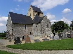 Eglise - Français:   Extérieur de l\'église Saint-Jean-Baptiste de Bannes (53).