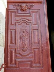 Eglise Notre-Dame des Cordeliers - Français:   Église Notre-Dame-des-Cordeliers de Laval (53). Entrée principale. Vantail gauche de la porte. Sacré-Cœur.
