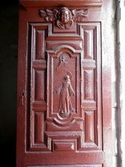 Eglise Notre-Dame des Cordeliers - Français:   Église Notre-Dame-des-Cordeliers de Laval (53). Entrée principal. Vantail droit de la porte. Saint-François.