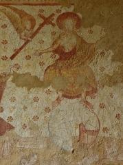 Eglise paroissiale Notre-Dame - Fresques ornant le mur ouest de la chapelle Sainte-Anne de l'église Notre-Dame de Cossé-en-Champagne (53). Le Jugement dernier. Chirst de gloire trônant sur le globe terrestre.