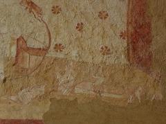 Eglise paroissiale Notre-Dame - Fresques ornant le mur ouest de la chapelle Sainte-Anne de l'église Notre-Dame de Cossé-en-Champagne (53). Le Jugement dernier. Résurrection des morts.
