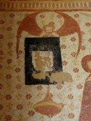 Eglise paroissiale Notre-Dame - Fresques ornant le mur ouest de la chapelle Sainte-Anne de l'église Notre-Dame de Cossé-en-Champagne (53). Le Jugement dernier. Ange buccinateur.