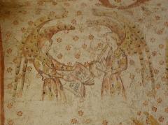 Eglise paroissiale Notre-Dame - Fresques ornant les voûtes de la chapelle Sainte-Anne de l'église Notre-Dame de Cossé-en-Champagne (53). Partie ouest. Anges musiciens.