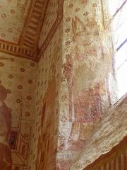 Eglise paroissiale Notre-Dame - Fresques ornant le mur sud de la chapelle Sainte-Anne de l'église Notre-Dame de Cossé-en-Champagne (53). Saint-Eutrope.