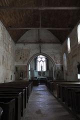 Eglise - Deutsch: Kirche Saint-Hilaire in Asnières-sur-Vègre im Département Sarthe (Pays de la Loire/Frankreich), Innenraum mit Wandmalereien aus dem 13. bis 15. Jahrhundert