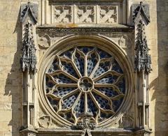 Eglise Notre-Dame-des-Marais - Français:   Vue extérieure de la rosace de l\'église Notre-Dame-des-Marais de La Ferté-Bernard - Sarthe