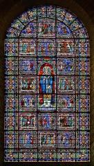 Cathédrale Saint-Julien - Français:   Grande verrière représentant Saint Julien et 16 faits marquants de sa vie (vitrail du XIIème s., restauration du XIXème s. terminée en 1897) - Façade occidentale de la Cathédrale Saint-Julien - Le Mans (Sarthe)