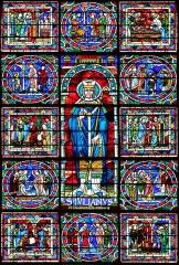 Cathédrale Saint-Julien - Français:   Détail du vitrail représentant Saint Julien - Cathédrale Saint-Julien - Le Mans (Sarthe)