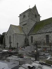 Eglise et cimetière qui l'entoure - Français:   Flanc nord de l\'église Notre-Dame de Genêts (50).