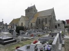 Eglise et cimetière qui l'entoure - Français:   Façade sud de l\'église Notre-Dame de Genêts (50).
