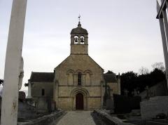 Eglise - Français:   église de Cresserons, façade occidentale et clocher