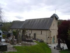 Eglise - Français:   Grangues (Normandie, France). L\'église Notre-Dame depuis le haut du cimetière.