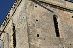 Eglise Saint-Clair - Français:   Style d\'un cadran solaire effacé sur la face est du clocher de l\'église Saint-Clair d\'Hérouville-Saint-Clair (Calvados)
