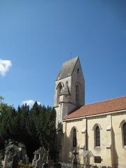 Eglise - Français:   Clocher du XIVe de l\'église Saint-François des Odons à Louvigny (Calvados, France), inscrit à l\'inventaire supplémentaire des monuments historiques (ISMH, 16/05/1927)