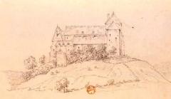 Château de Brandon - English:   French castle of Brandon, drawing 19th century.