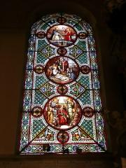 Cathédrale Saint-Vincent (nouvelle église Saint-Vincent) -  Vitrail de l'église cathédrale Saint-Vincent de Mâcon (France). Les vitraux de cet édifice sont l'œuvre de l'atelier lyonnais de Jean-Baptiste Barrelon. Ils ont été réalisés entre 1858 et 1878, et installés à partir des années 1860.