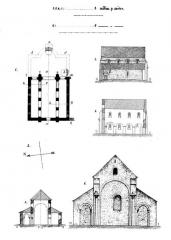 Ferme Saint-Rémy-l'Abbaye ou prieuré de Ronquerolles -  Croquis d'architecture relevés sur place par Eugène Woillez.