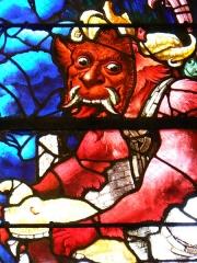 Eglise Saint-Etienne - Vitraux du XVIème siècle réalisés pour la plupart par Engrand Leprince: détail du vitrail Le Jugement Dernier, baie N°6.