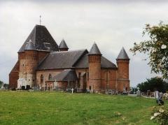 Eglise de Beaurain - English: Église Saint-Médard de Flavigny-le-Grand-et-Beaurain en 1991