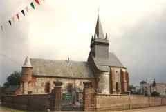 Eglise - English: Église Saint-Nicolas de Morgny-en-Thiérache en 1991