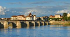 Pont Saint-Laurent, sur la Saône - Français cadien: Brücke über die Saone bei Macon