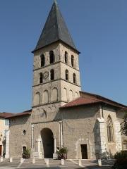 Eglise Saint-Laurent-des-Prés -  Tullins (Isère, France), église St Laurent-des-Prés. Clocher classé M.H., reste de l'église inscrit.