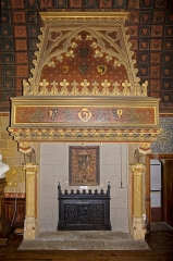 "Salle La Diana ou Salle des Etats de Forez -  The monumental fireplace of ""La Diana"", with coat of arms of the Counts of Forez and François 1er, identical reconstruction of the original chimney, destroyed on the 19th century."