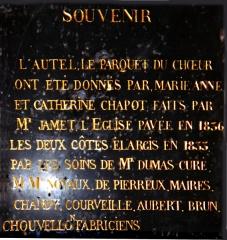 Eglise - Plaque commémorative des fabriciens de la paroisse de Saint-Symphorien ayant participé à la restauration de l'église en 1836